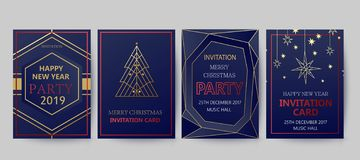 New Year and Merry Christmas party invitation, background. Geometric art style design with holiday tree. Greeting card, flyer, poster. Winter card template royalty free illustration