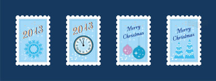 New year & merry christmas post stamp Stock Photography