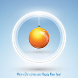New Year 2014 and Merry Christmas postcard. Abstract design of New Year and Merry Christmas postcard with a Christmas ball on blue background Royalty Free Stock Images