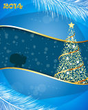 New Year 2014 and Merry Christmas postcard Stock Photos