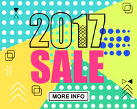 2017 new year and merry christmas sale. Geometric memphis style with shapes. Vector Illustration. EPS 10 Stock Illustration