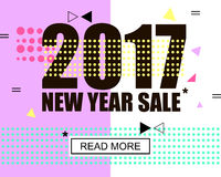 2017 new year and merry christmas sale. Geometric memphis style with shapes. Vector Illustration. Eps 10 Vector Illustration
