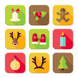 New Year Merry Christmas Square App Icons Set Stock Photo