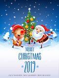 2019 New year & Merry Christmas symbol. Santa Claus on a winter background with gifts, Christmas trees,a star, candy, sweets and symbols 2019 pig.Decoration of stock illustration