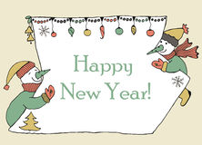 New year message banner, hand drawn Stock Photos