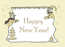 New year message banner, hand drawn Royalty Free Stock Photo