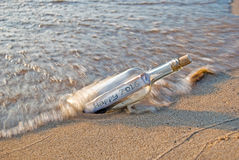 New Year 2016 message in a bottle Royalty Free Stock Images