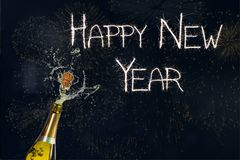 New year Message and Champagne on Black Background stock illustration