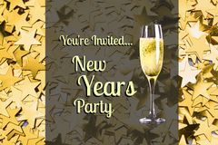 New year Message and Champagne on Gold Star Background Design. Digital Composite of New year Message and Champagne on Gold Star Background Design Royalty Free Stock Image