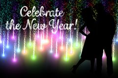 New Year Message and Couple Silhouette on Firework Background Design Royalty Free Stock Photos