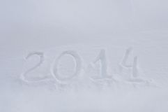 New year 2014 message on snow Royalty Free Stock Image