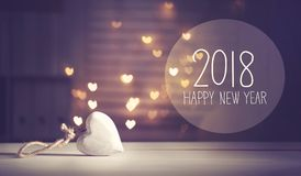 New Year 2018 message with a white heart. With heart shaped lights Royalty Free Stock Images
