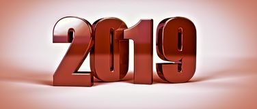 2019 new year metal bronze text isolated on white. 3d render. Illustraation royalty free illustration