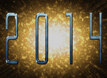 New year 2014 with metal effect and explosion. The illustration depicts the date of the new year 2014, with effect metal colored in blue and behind a explosion Royalty Free Stock Photo