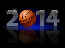 New Year 2014. Metal numerals with basketball instead of zero having weak reflection. Illustration on black background Royalty Free Stock Photos