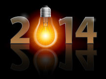 New Year 2014. Metal numerals with bulb instead of zero having weak reflection. Illustration on black background Royalty Free Stock Photography
