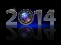 New Year 2014. Metal numerals with camera lens instead of zero having weak reflection. Illustration on black background Stock Image