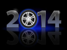 New Year 2014. Metal numerals with car wheel instead of zero having weak reflection. Illustration on black background Royalty Free Stock Image