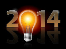 New Year 2014. Metal numerals with electric bulb instead of zero having weak reflection. Illustration on black background Royalty Free Stock Photo