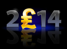 New Year 2014. Metal numerals with english pound instead of zero having weak reflection. Illustration on black background Royalty Free Stock Photo