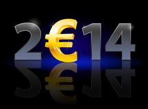New Year 2014. Metal numerals with euro instead of zero having weak reflection. Illustration on black background Royalty Free Stock Photo