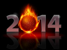 New Year 2014. Metal numerals with fire ball instead of zero having weak reflection. Illustration on black background Royalty Free Stock Image