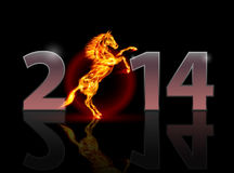 New Year 2014. Metal numerals with fire horse. Illustration on black background Stock Photos