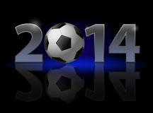 New Year 2014. Metal numerals with football instead of zero having weak reflection. Illustration on black background Stock Photography