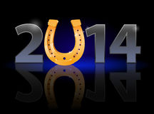 New Year 2014. Metal numerals with golden horseshoe instead of zero having weak reflection. Illustration on black background royalty free illustration