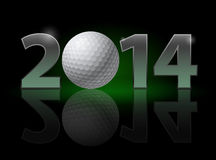 New Year 2014. Metal numerals with golf ball instead of zero having weak reflection. Illustration on black background Stock Image