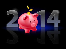 New Year 2014. Metal numerals with piggy bank instead of zero having weak reflection. Illustration on black background Stock Photos