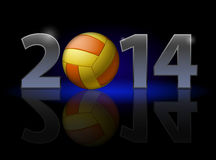 New Year 2014. Metal numerals with volleyball instead of zero having weak reflection. Illustration on black background Royalty Free Stock Images