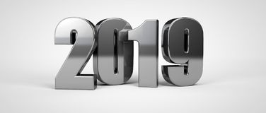 2019 new year metal text isolated on white. 3d render. Illustration royalty free illustration