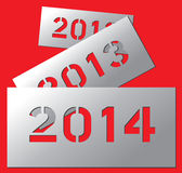 New year metallic plate 2014 Royalty Free Stock Photos
