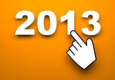 New Year metaphor. 2013 on orange background. New Year metaphor Royalty Free Stock Photo