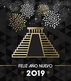 New Year 2019 mexico chichen itza travel gold stock illustration