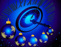 New Year midnight. New Year decorations on the blue background Stock Illustration