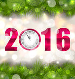 New Year Midnight Background with Clock and Fir Royalty Free Stock Images