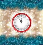 New Year Midnight Background with Clock and Fir Royalty Free Stock Photos