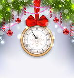 New Year Midnight Background with Clock. Illustration New Year Midnight Background with Clock, Balls and Fir Twigs - Vector Royalty Free Stock Images