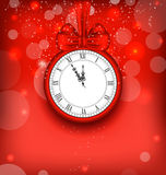 New Year Midnight Background with Clock. Illustration New Year Midnight Background with Clock and Bow Ribbon - Vector Stock Images