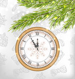 New Year Midnight Background with Clock. Illustration New Year Midnight Background with Clock and Fir Twigs  - Vector Stock Photo