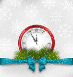New Year Midnight Background with Clock. Illustration New Year Midnight Background with Clock and Fir Twigs - Vector Stock Photography