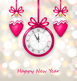 New Year Midnight Glowing Background with Clock Royalty Free Stock Photo
