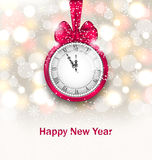 New Year Midnight Glowing Background with Clock Royalty Free Stock Photos