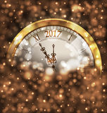 2017 New Year Midnight, Glowing Background with Clock. Illustration 2017 New Year Midnight, Glowing Background with Clock - Vector Stock Image