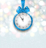New Year Midnight Shimmering Background with Clock Royalty Free Stock Photo