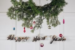 New year minimal decorations on the white wall royalty free stock photo