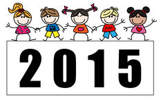 New year 2015 mixed ethnic children. 