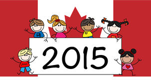 New year 2015 mixed ethnic children Stock Images